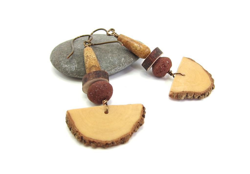 Wood Pendulum Earrings