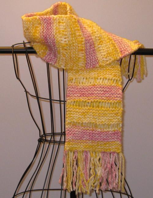 Easy Drop Stitch Striped Scarf knitting pattern