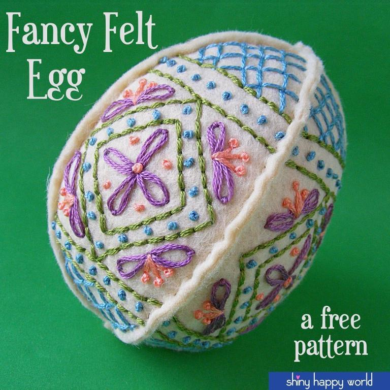 3D felt easter egg with hand embroidered patterns