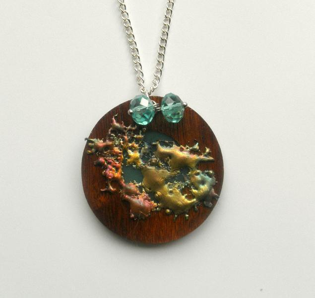 Copper Splash Wood and Crystal Necklace