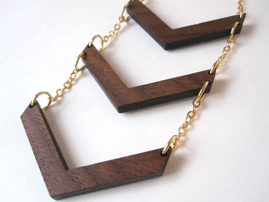 Laser Cut Chevron Wood Necklace