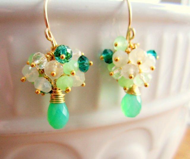 Green Chrysoprase Cluster Earrings