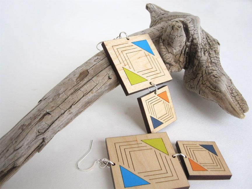 Hand-Painted Tribal Wood Earrings