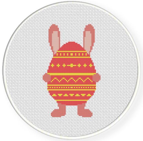 digital pattern of bunny rabbit holding giant easter egg