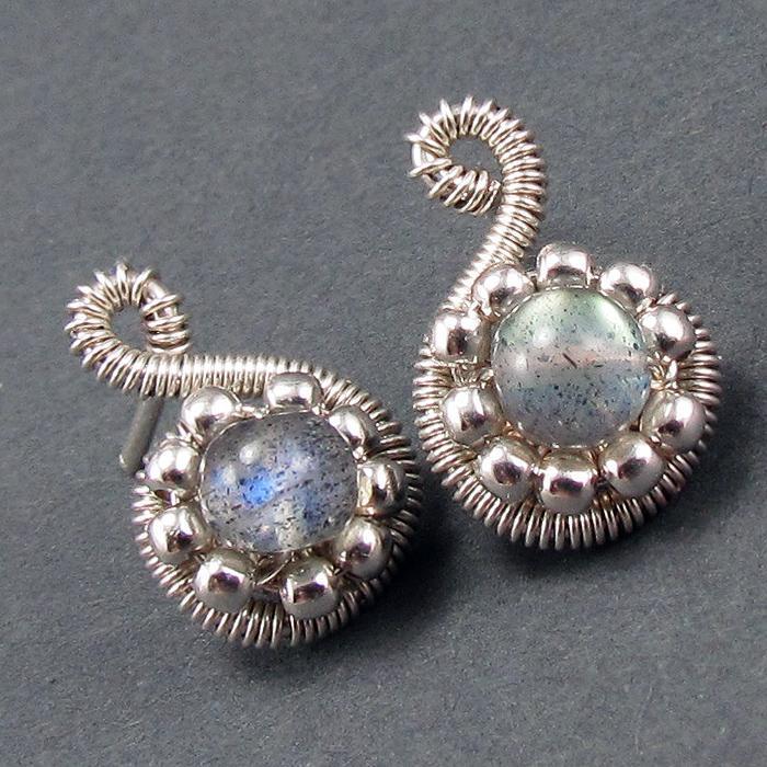 Beaded Spiral Post Earrings