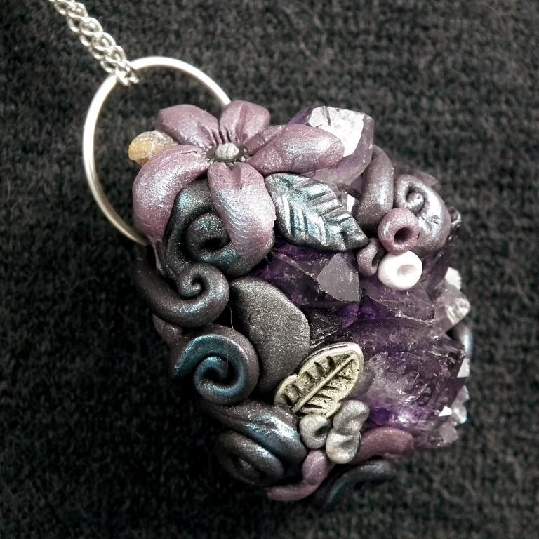 Amethyst and Clay Flower Pendant