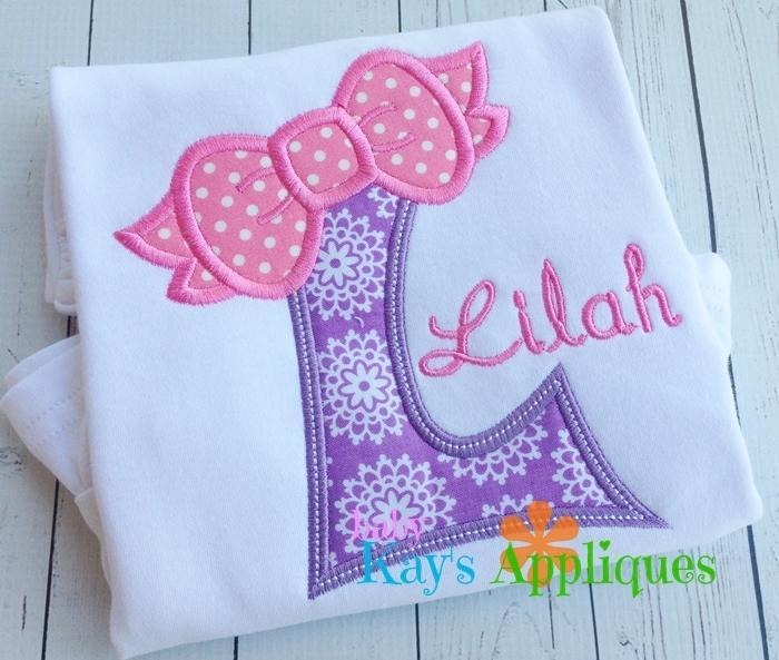 Bow Alpha Applique Set