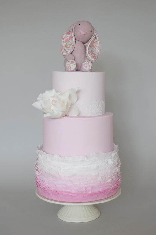 Pink ruffle Christening cake by Bluprint member Helena@Sweettiers.com.au