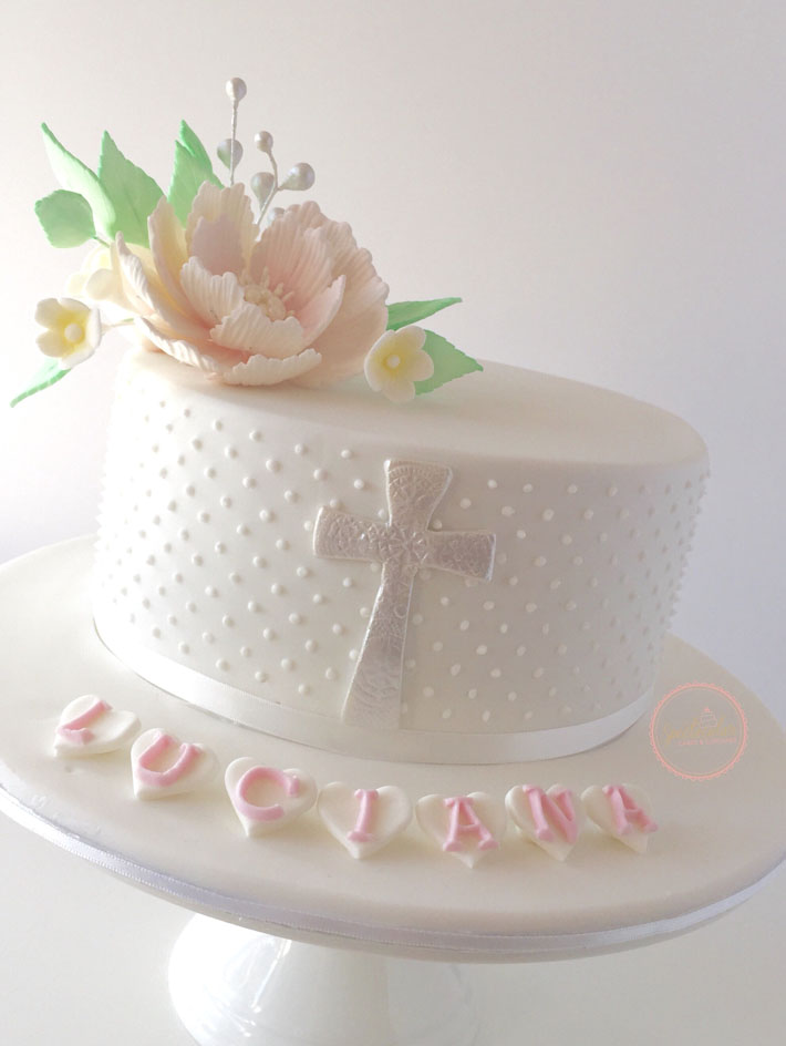 Swiss dots Christening cake by Bluprint member rrushwan420162
