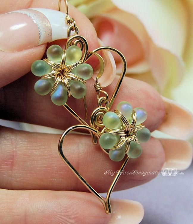 Charming Hearts Earrings in Spring Green