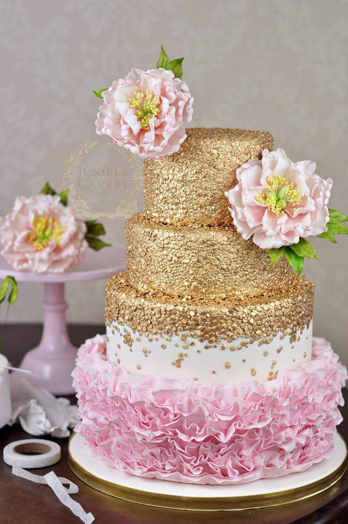peony ruffle wedding cake