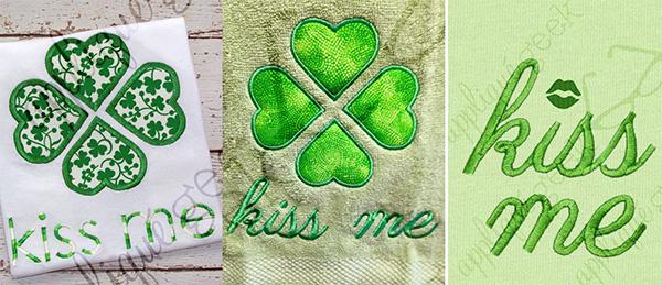 irish kiss me machine embroidery