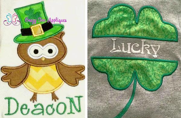 irish owl split shamrock applique