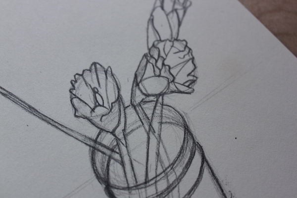 Drawing a flower - refining - step 2