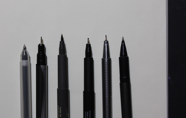 Pens for sketching - example