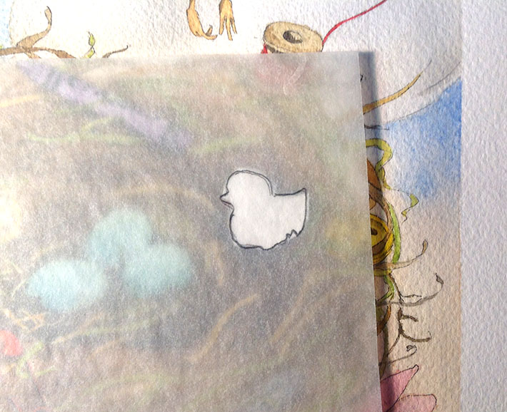 tracing paper over art