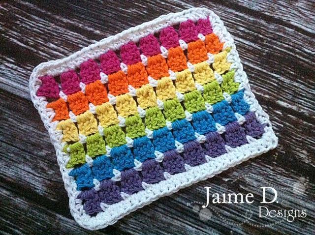 rainbow crochet dishcloth