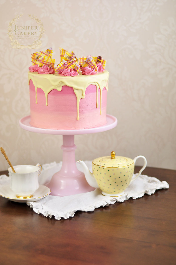 Strawberry Milkshake and White Chocolate bakery-style cake by Juniper Cakery