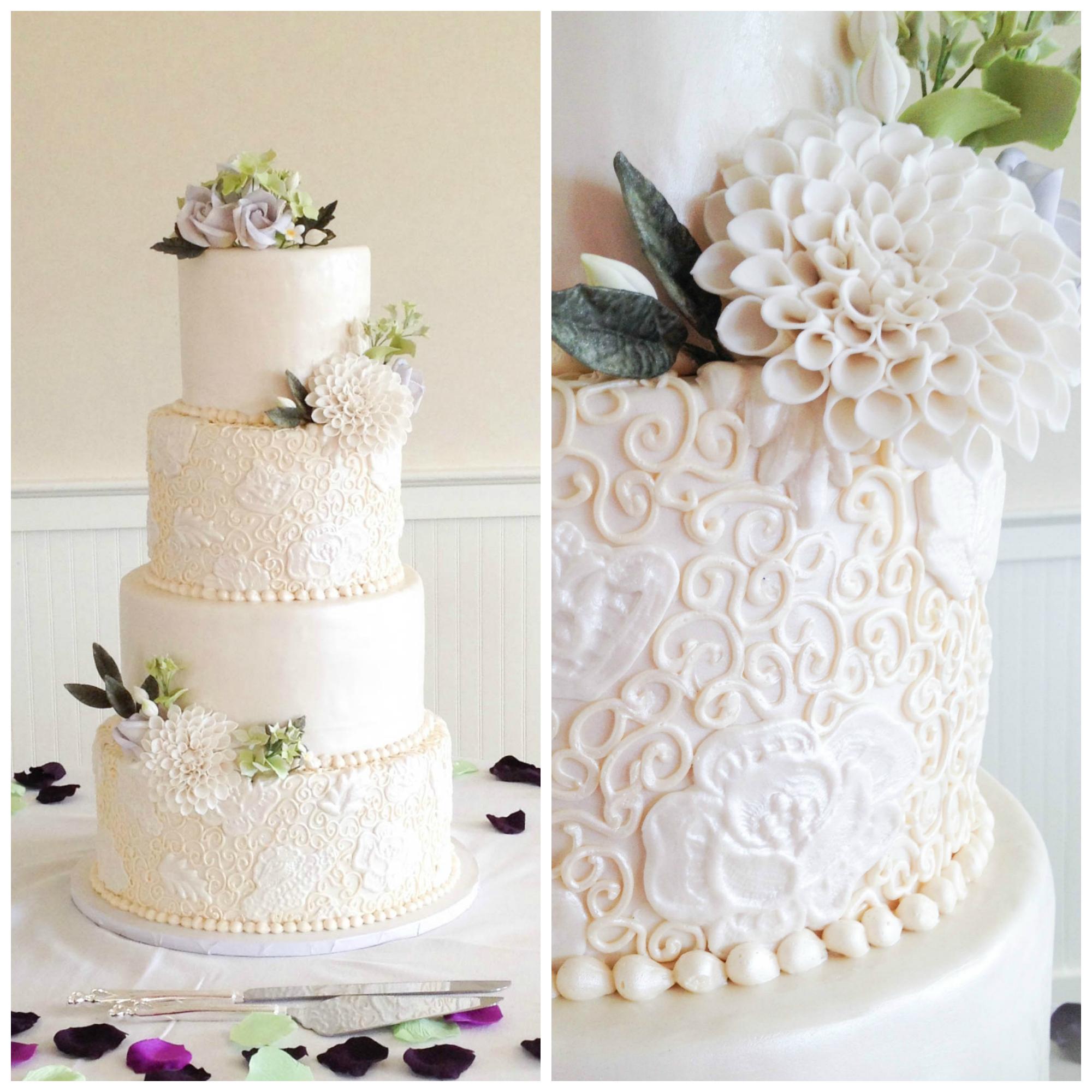 Piped Scroll Wedding Cake | Erin Gardner