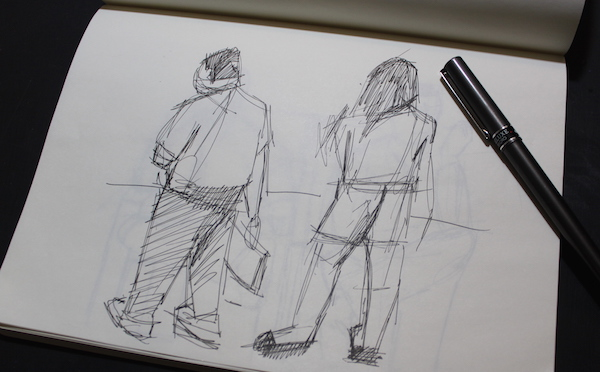 Sketching with pen - men and women