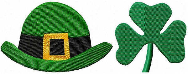 st patrick hat and shamrock machine embroidery