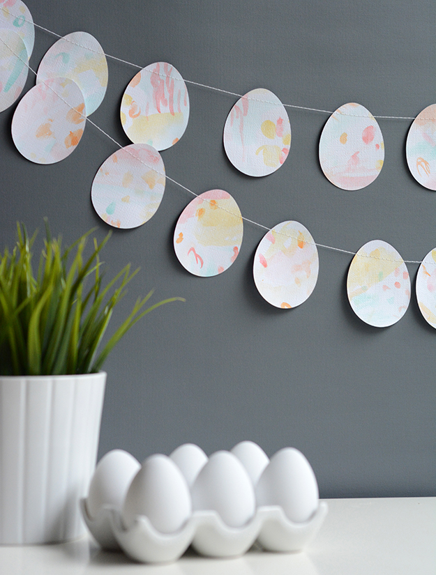 watercolor easter egg garland