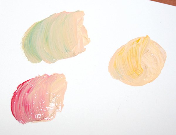 Colors mixed with skin tones
