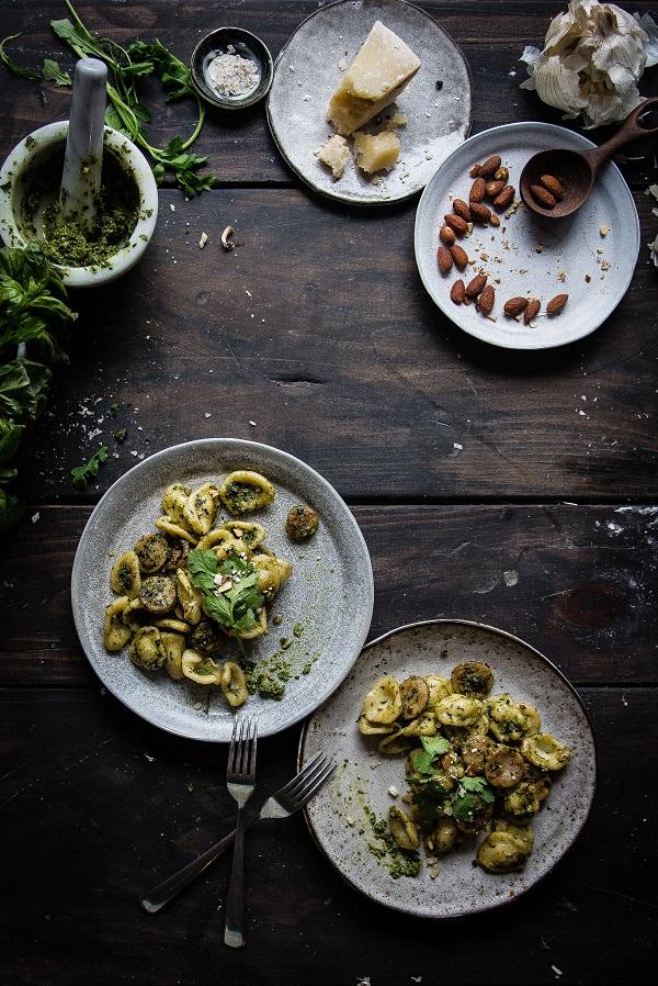 homemade pasta with sausage and pesto