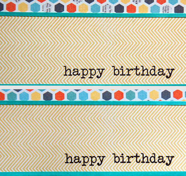 Sample of stamped vs. embossed sentiment on patterned paper
