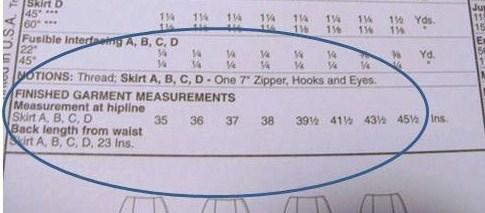 finished garment measurements