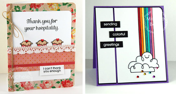 Samples of cards with rounded corners