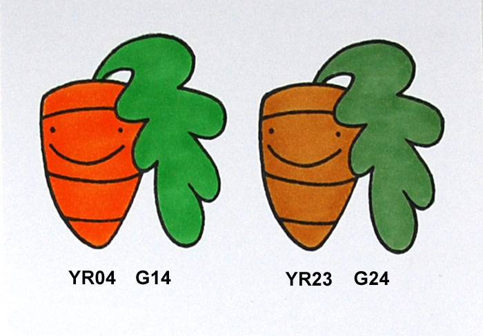 Sample of high and low saturation with Copic Markers