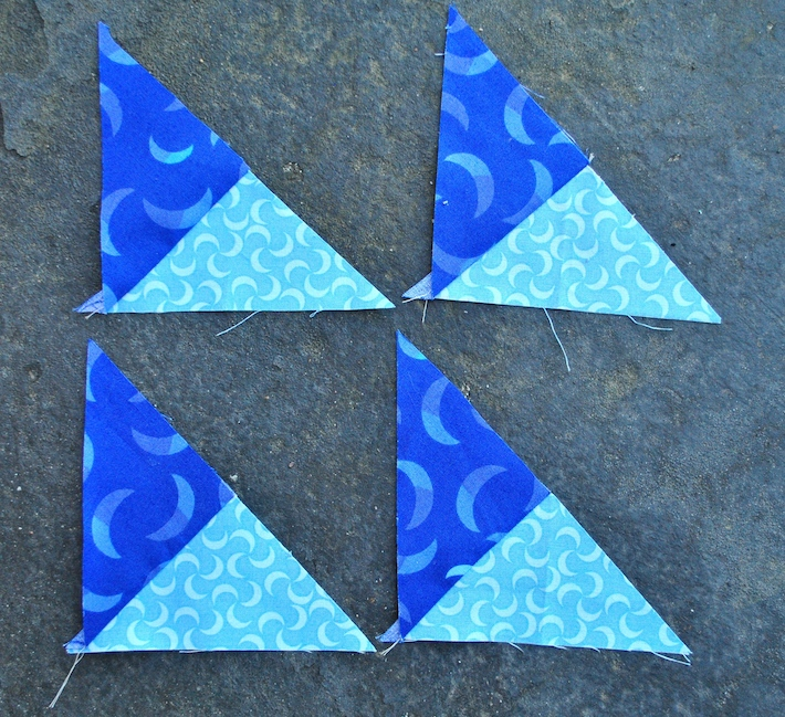 Piecing small quarter-square triangles