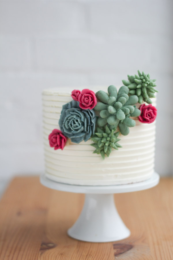 Piped Buttercream Succulents And Flowers by Erica O'Brien | Erin Gardner |Bluprint