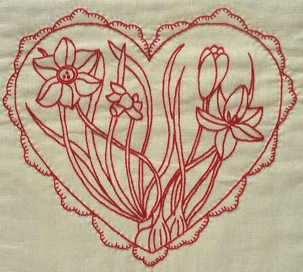 Hearts Flowers No 1 Redwork Pattern