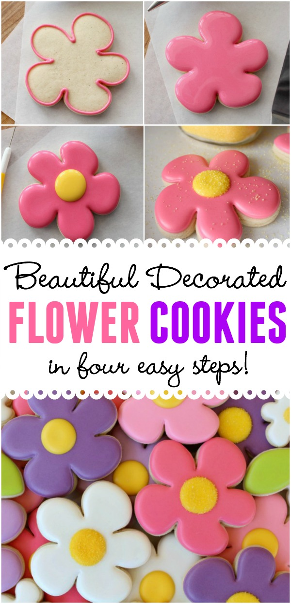 How to decorate beautiful spring flower cookies in four easy steps!