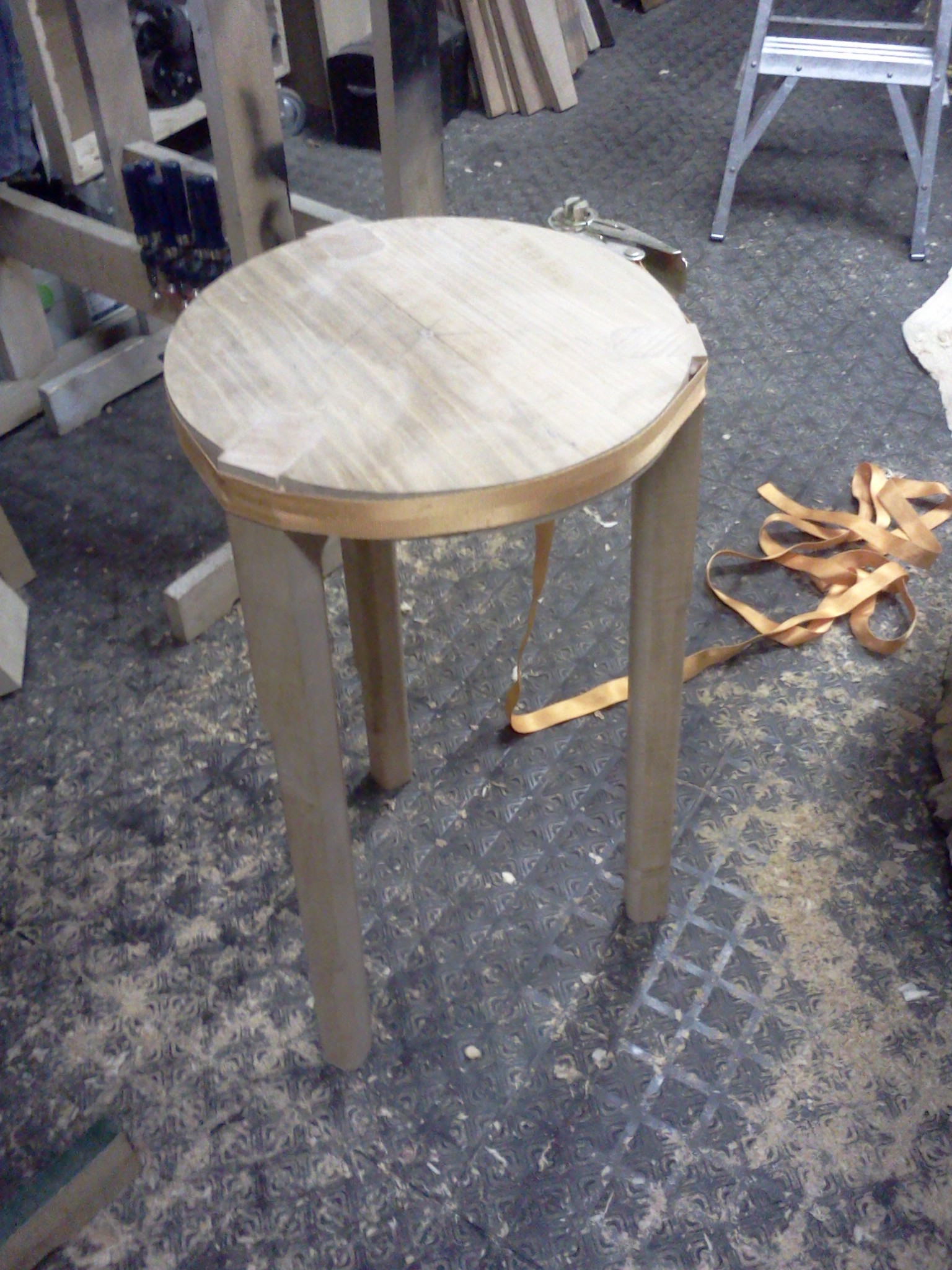 Stool glued and clamped