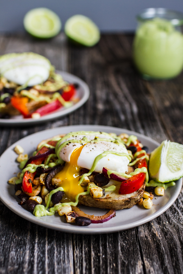 Tex-Mex Eggs Benedict with Avocado Hollandaise