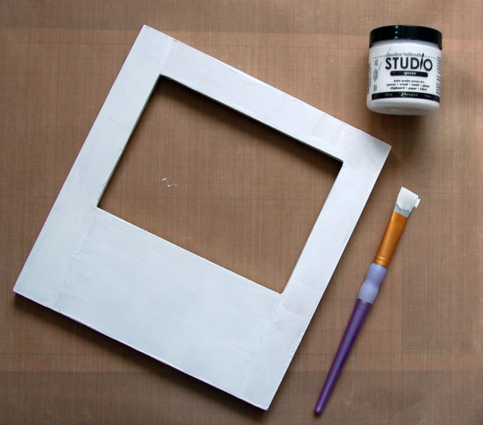 Apply gesso to front of frame