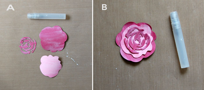 Die-cut, stain and adhere flower layers; add white dots