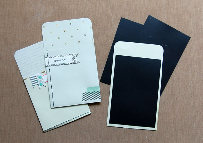 Adhere magnetic paper to embellished pockets