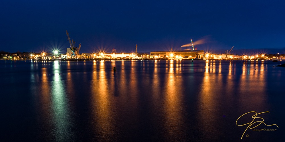 The bright lights of the Portsmouth Naval Shipyard, Kittery, Maine