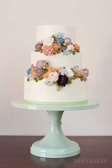Tiered Cake With Buttercream Flowers by Miso Bakes | Erin Gardner | Bluprint