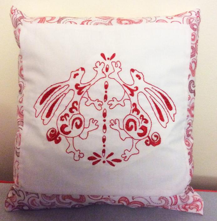 Rabbit Dance Redwork Pillow