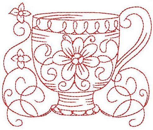 Redwork Teacup 3 Hand Embroidery