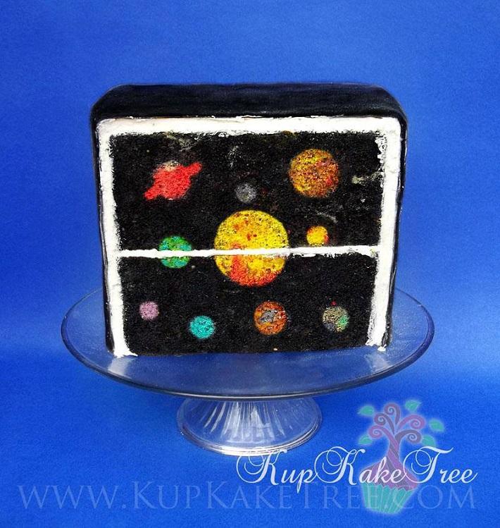 Solar system baked inside cake