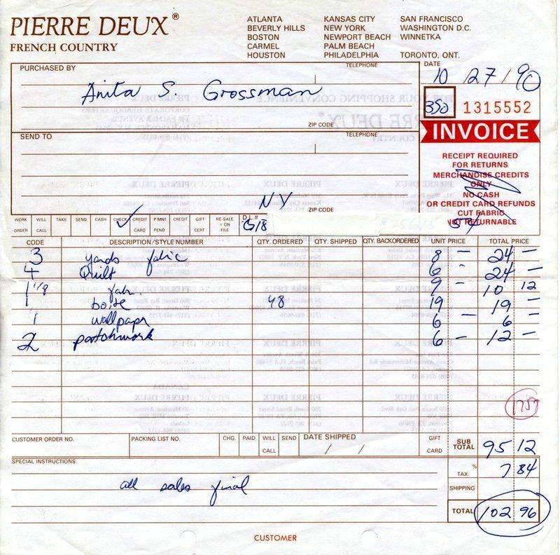 Pierre Deux Invoice