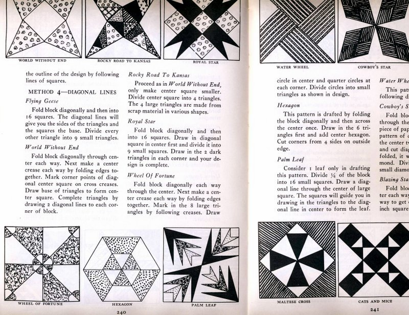 "Drafting blocks from Marguerite Ickis' ""The Standard Book of Quilt Making and Collecting"""