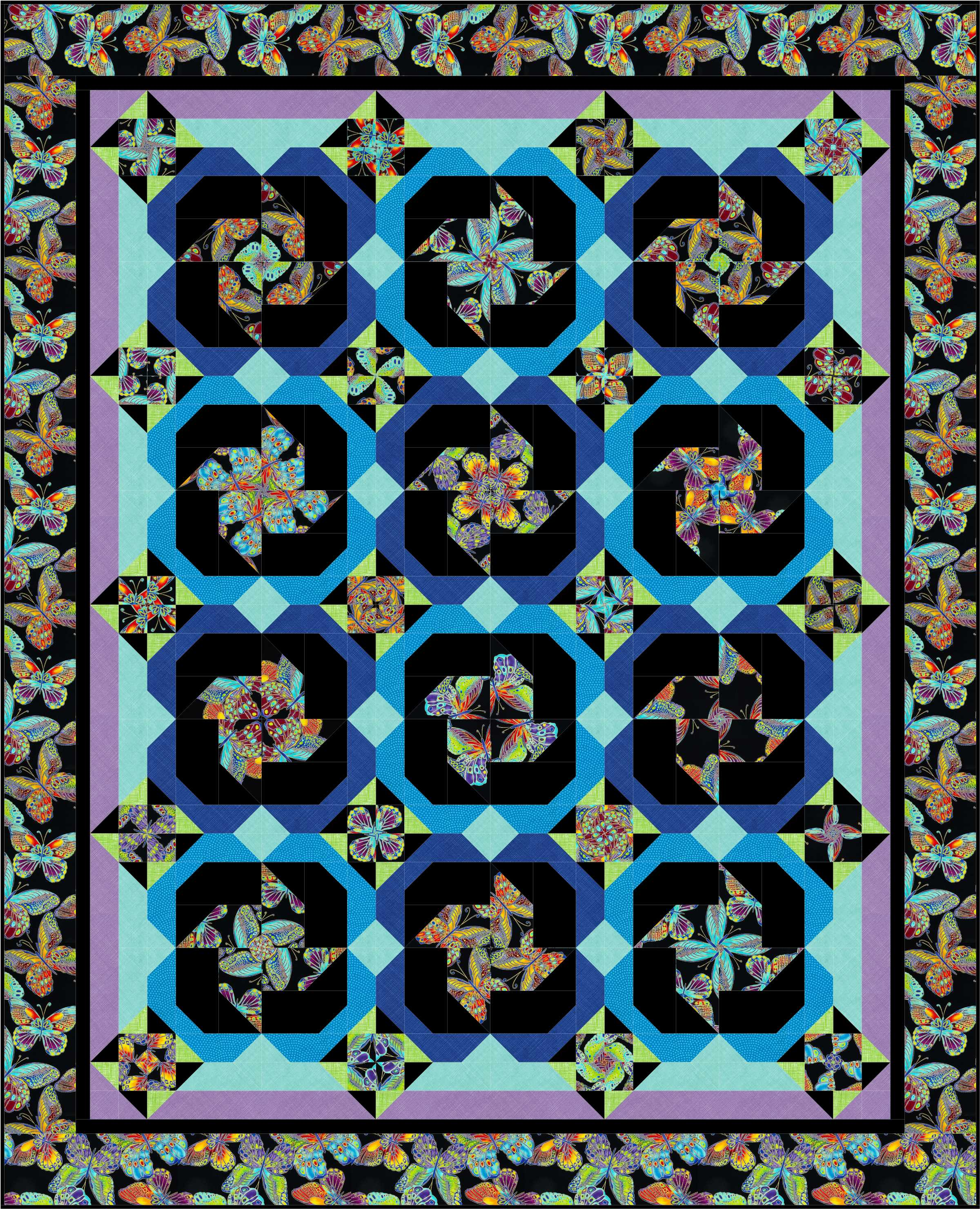 Spinning Wheels Quilt TT Butterflies QM141
