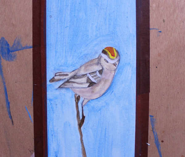 First layer of paint of bird
